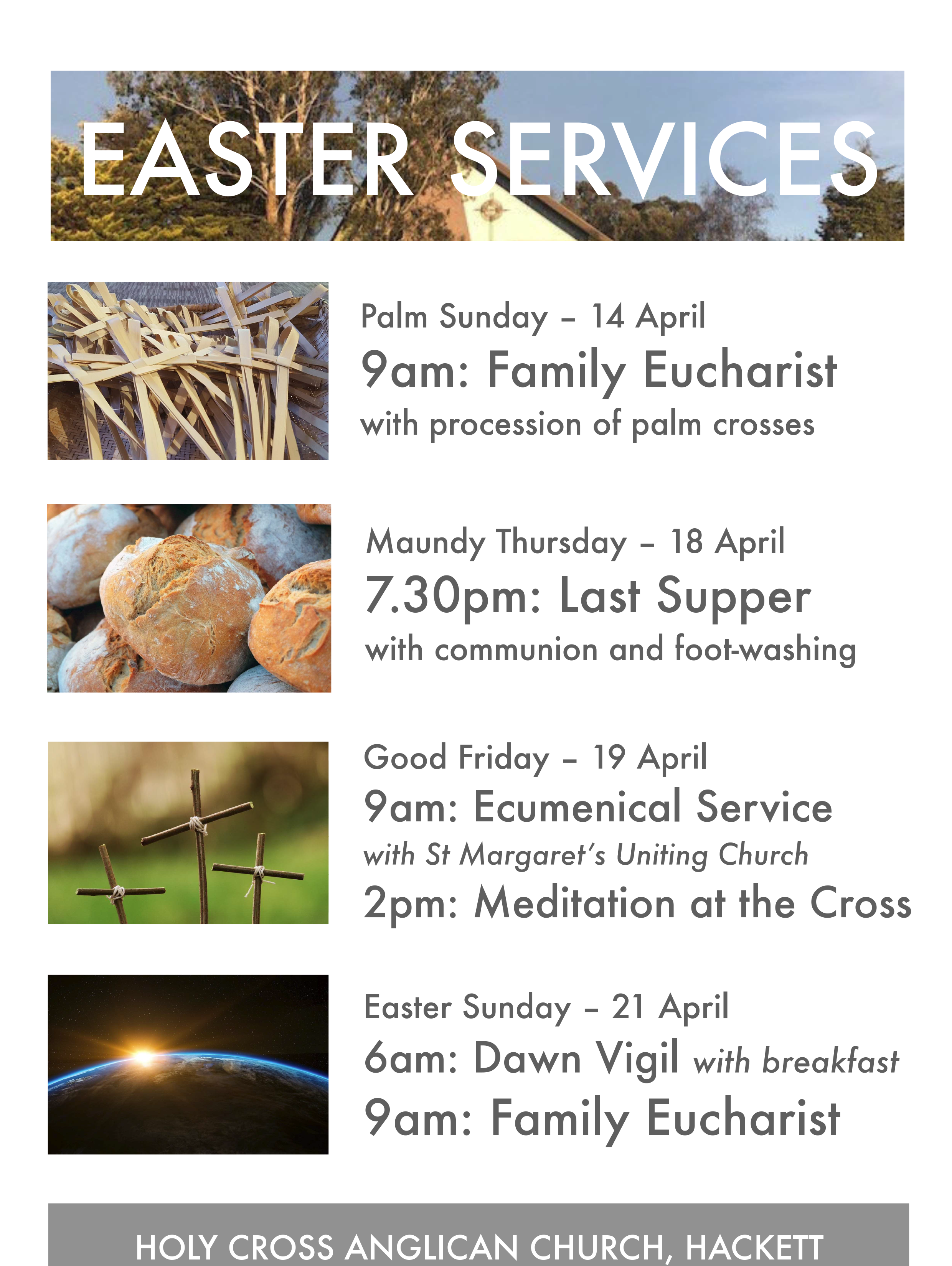 Easter Services Holy Cross Anglican Church Hackett