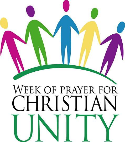 Multicoloured figures holding hands with words 'Week of Prayer for Christian Unity'