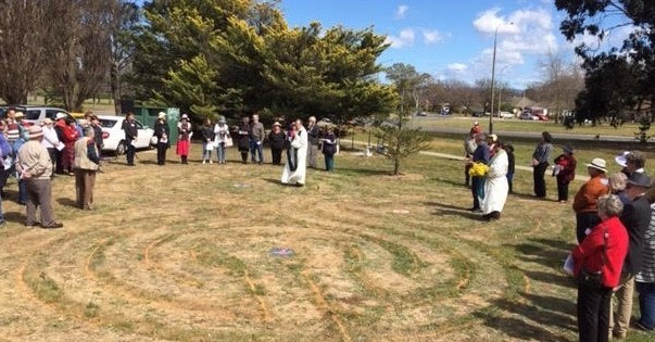 Congregations from St Margaret's and Holy Cross gather for the blessing of the Trinity Labyrinth