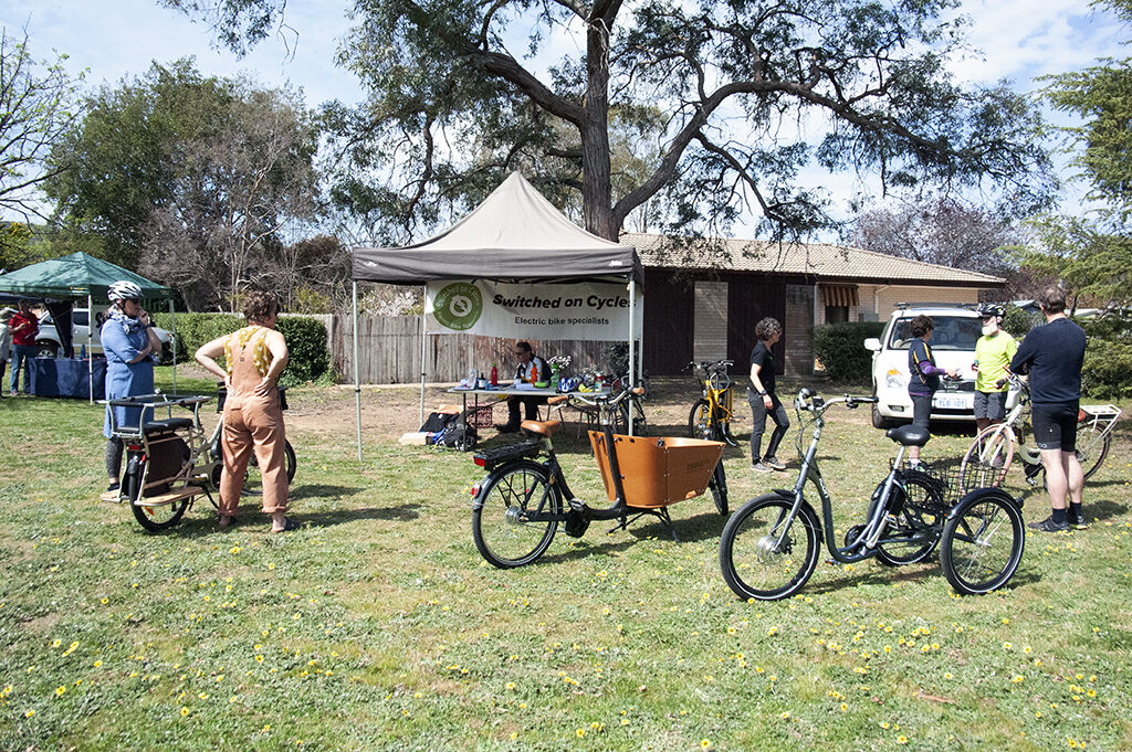 bicycles and cycling options displayed at switched on cycles stall