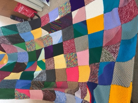 Colourful patchwork blanket